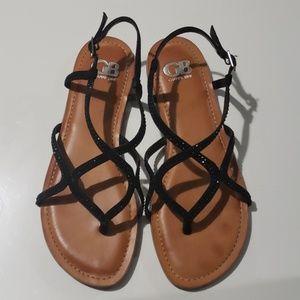 Gianni Bini Black Jewel Strappy Flat Sandals Sz 9